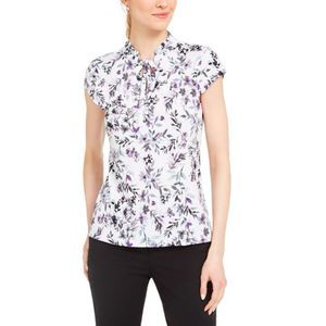 Karl Lagerfeld White-Multi Floral Blouse Top